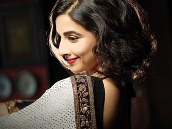 Vidya Balan White Silver Bollywood Replica Saree