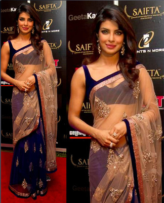 Priyanka Chopra Lifestyle Bollywood Replica Saree