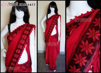 Red Crepe Jacquard Saree- Super Flowy, Light weight and Drapes well !