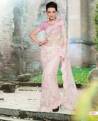 Designer Pure Net Saree In Hand Work & Cut Border Work With Designer Blouse.