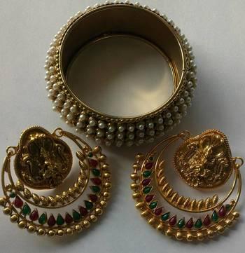 Designer Ram Leela Earings & Traditional Moti Kada