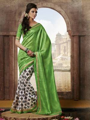 Bhagalpuri silk printed saree with blouse