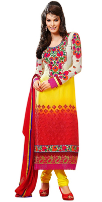 Triveni Sunrise Shaded Embroidered Salwar Kameez 17259