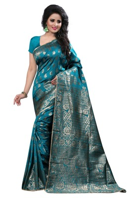 Turquoise printed art_silk saree With Blouse