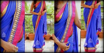 Outstanding look royal blue saree