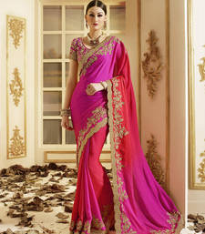 Buy Pink embroidered georgette saree With Blouse bridal-saree online