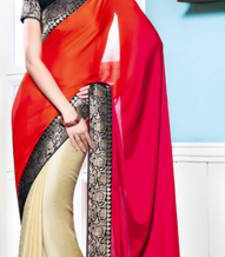 Buy Vishal Georgette Orange+Pink+Cream Saree Tropical Bloom 31611C party-wear-saree online