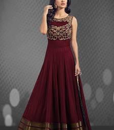 Buy Maroon art silk embroidered semi stitiched salwar with dupatta party-wear-salwar-kameez online