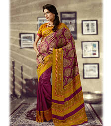 Buy Mustard and Magenta Printed Silk Saree silk-saree online