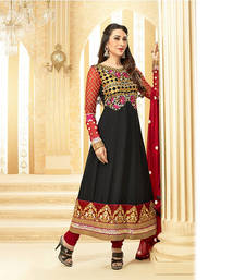 Buy Black Designer Anarkali Suit semi-stitched-salwar-suit online