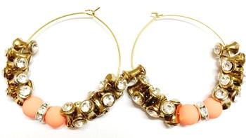 Designer Peach and golden Earrings