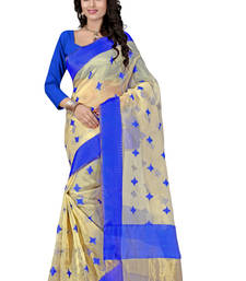 Buy Blue hand woven organza saree With Blouse organza-saree online