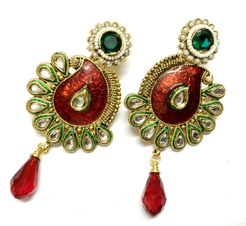 Red Traditional Kundan work Earrings
