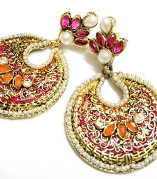Buy Orange and Pink Traditional Earrings danglers-drop online