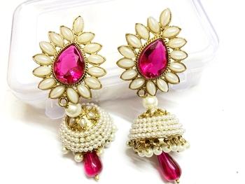 Pink Ashiqui2 Bollywood Earrings