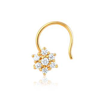 Mahi Gold Plated Daisy Bloom Nose Rings With CZ