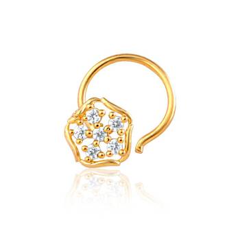 Mahi Gold Plated Indian Glamor Nose Ring With CZ