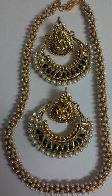 Designer Pearl Necklace with Traditional Black colour Ram Leela Earings