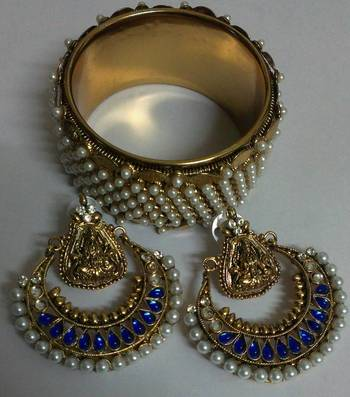 Designer Ram Leela Earings with Traditional Moti Kadas