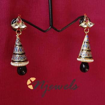 Kundan and meenakari earrings-ME033