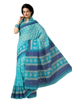 Triveni Sophisticated Blue Colored Cotton Printed Indian Traditional Saree