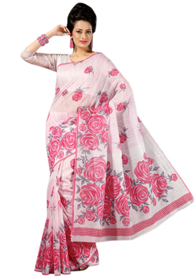 Triveni Sophisticated Pink Colored Cotton Printed Indian Traditional Saree