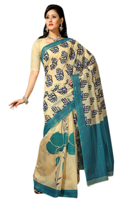 Triveni Sophisticated Light Yellow Color Cotton Printed Indian Traditional Saree