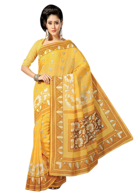 Triveni Sophisticated Yellow Colored Cotton Printed Indian Traditional Saree