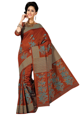 Triveni Sophisticated Brown Colored Cotton Printed Indian Traditional Saree