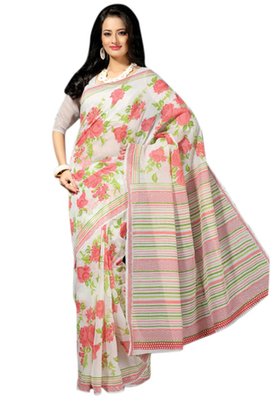 Triveni Sophisticated Offwhite Colored Cotton Printed Indian Traditional Saree
