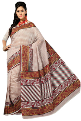 Triveni Sophisticated Cream Colored Cotton Printed Indian Traditional Saree