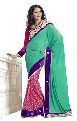Triveni Sparkling Pink Colored Party Wear Indian Designer Border Worked Saree