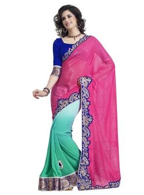 Triveni Majestic Pink Colored Border Work Indian Exclusive Designer Saree