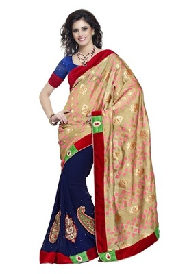 Triveni Majestic Navy Blue Colored Embroidered Indian Exclusive Designer Saree