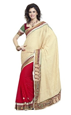 Triveni Majestic Red Colored Border Work Indian Exclusive Designer Saree