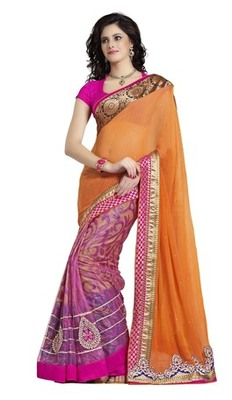 Triveni Majestic Pink Colored Border Work Indian Exclusive Designer Saree