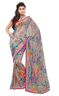 Triveni Lovely Grey Colored Casual Printed Faux Georgette Indian Designer Saree