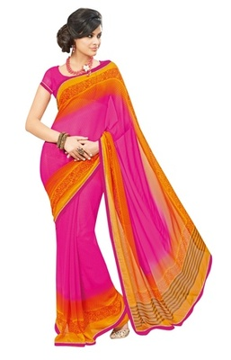 Triveni Lovely Pink Colored Casual Printed Faux Georgette Indian Designer Saree