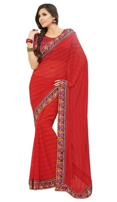 Triveni Lovely Red Colored Border Work Chiffon Indian Designer Saree