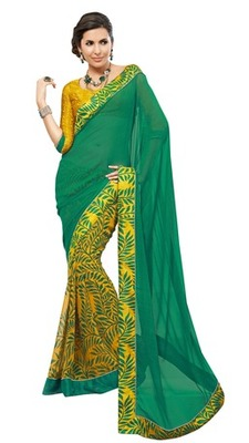 Triveni Lovely Yellow Colored Casual Printed Georgette Indian Designer Saree