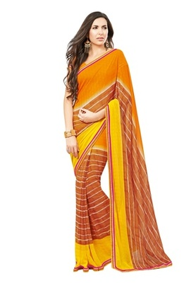 Triveni Lovely Brown Colored Casual Printed Faux Georgette Indian Designer Saree