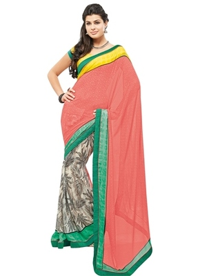 Triveni Lovely Multi Colored Casual Printed Faux Georgette Indian Designer Saree