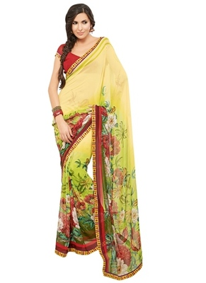 Triveni Lovely Yellow Colored Casual Printed Faux Georgette Indian Designer Sari