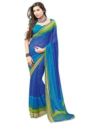 Triveni Lovely Blue Colored Casual Printed Faux Georgette Indian Designer Saree