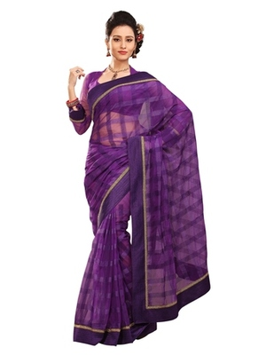 Triveni Stylish Purple Colored Border Work Indian Designer Beautiful Saree