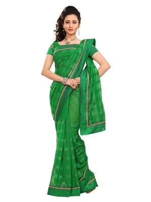 Triveni Stylish Green Colored Border Work Indian Designer Beautiful Saree