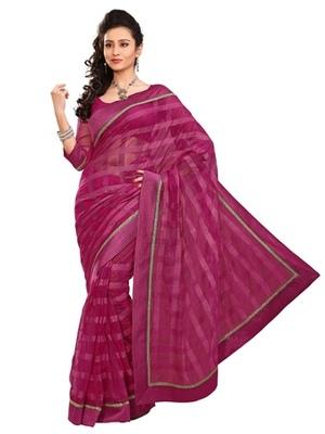 Triveni Stylish Magenta Colored Border Work Indian Designer Beautiful Saree