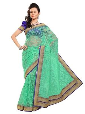 Triveni Stylish Green Colored Border Work Indian Designer Beautiful Saree