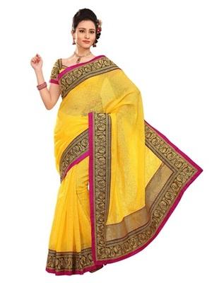 Triveni Stylish Yellow Colored Border Work Indian Designer Beautiful Saree