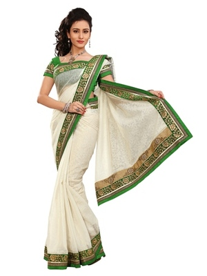 Triveni Stylish Offwhite Colored Border Work Indian Designer Beautiful Saree
